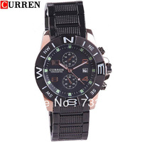 Hot!Free shiping!(CURREN) Leisure Style Stainless Steel Men's Analogue Quartz Wrist Watch Wristwatch with Date Display-WAH
