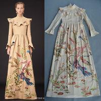 Free Shipping Runway 2014 Fall Stunning Printed Long Dress Maxi Dress 140916D01
