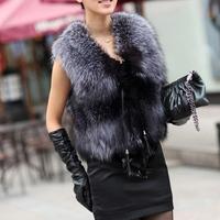 2014 Womens Sleeveless Outerwear Waistcoat Vest Long Hair Jacket Faux Fur Short Coat
