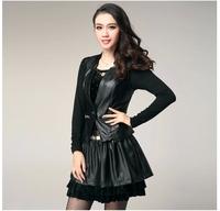 Good quality women Leather jacket  2014 autumn Slim leather coat& skirt PU ladies black leather jacket brand clothing plus size