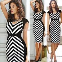2014 New Fashion Women Clothing Casual Dress Stripped Patten Deep V Neck High Waist Summer Dress