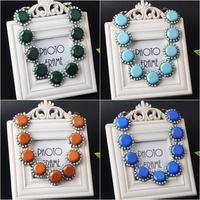 Trendy Women's Jewelry 6color Round Sun Flower Shape Necklace Simple Design Choker Statement Chain Necklace