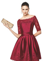 OEC449 Elegant Lace Appliquies Satin Boat Neckline Short Sleeve Burgundy Cocktail Party Dress