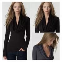 ZZ9970  Sexy  Deep V-neck Long-sleeved  Autumn Blouse Slim Bottom Casual Blouse