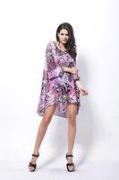 Summer new European and American big yards long section leopard chiffon shirt bat sleeve chiffon blouse Bohemian