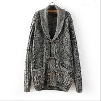 Fashion 2014 new design women's winter knit sweater coat Serratula  Gray and white warm casual sweater