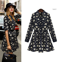 New autumn Big yards long-sleeved women's dresses Top quality Floral Printed Slim casual dress women clothes free shipping