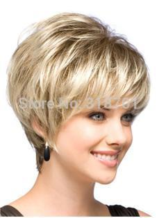 Гаджет  Natural Blonde Straight Lambskin Short Wig For Woman free shipping None Волосы и аксессуары