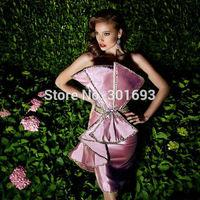 OEC450 Elegant Taffeta Big Bow Beaded Bling Bling Cocktail Dress