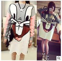 Free Shipping Autumn Korean Cute Cartoon rabbit-sleeved sweatshirt  Large size women's T-shirt