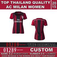 Fast Free Shipping 2015 AC milan women shirt Jerseys top thailand quality women jersey AC milan camiseta Jersey home Red black