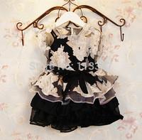 Retail New 2015 Girls dress baby&kids girl dress casual Black flowers tutu dress children vestidos de menina dresses