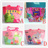 Free shipping 5pcs/lot Peppa Pig Handbags/baby Girls waterproof  Shoulder Bags/kids Geroge Pig Shopping Bags,31*19*12cm