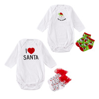 Baby Clothing Set Christmas Costumes for Newborn Infant Boy Girl Rompers Lace Santa Claus Socks Green Red Cotton Clothes carters