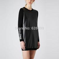 2014 Fashion Women's Bodysuit Dress Faux Leather Splice Knit Style Prom Gown Party Cocktail Dress AH26