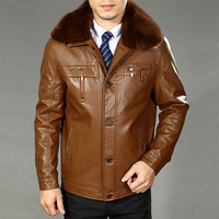 brown fur coat mens leather jackets and coats male leather jacket men motorcycle jacket casual jaqueta couro 4xl 6XL BW5