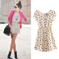 Bargain HOT SALE vestidos Women Spring Summer New Fashion Animal Bird Print Vintage Mini Dress Plus Size S-XXXL W4390
