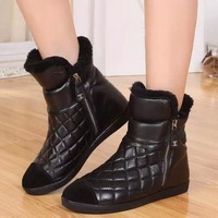 Drop shipping Brand Fur inside winter girl boots Zipper Gride Snow boots leather warm boots