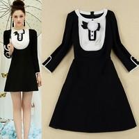 Autumn 2014 Fashion slim full sleeve Dress Palace retro Women's Black And White Women Casual Dresses