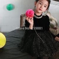 2014 Girls noble pearl collar  sweet gauze black dress , girls dresses , kids clothes girls , 5pcs/lot  WY02
