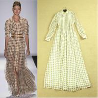 New Hot! Fashion women's turn-down collar elegant long-sleeve plaid pattern big bottom type full dress