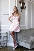 2014 Sexy A-line Scoop Satin Off the Shoulder Sequins Zipper Sleeveless Above Knee Length Prom Dresses  Crystals