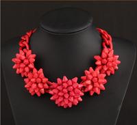 Free Shipping Fashion Luxury Corlorful Flower Red Big Chain ZA Necklaces & Pendants Beads Gem Choker Collar Shourouk Necklace