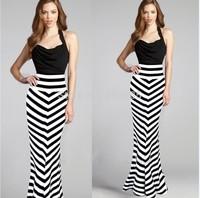 NEW FASHION WOMEN MULTI STRIPE LONG SEXY ELEGANT MAXI SKIRT HIGHT WAIST Striped Skirts