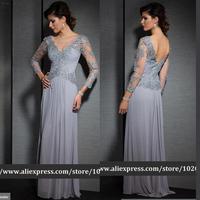 Latest Lace Appliques Chiffon Long Sleeve Evening Dress vestido de festa longo vestido de renda 2014 dress wedding party