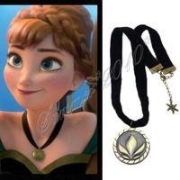 Womens Princess Anna Frozen Cosplay Coronation Necklace Ribbon Gold Pendant New