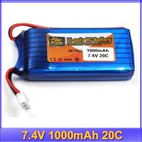 free shipping 7.4V 1000mAh 20C lipo battery for WLtoys V912 / V262 /WL V912 helicopter