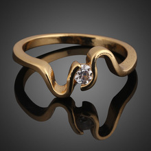 Brand New Perfect Wedding Ring Marriage Ring Engagement Ring 18K Gold Plated OD#S