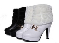 White/Black Winter New 2014 Fashion Womens Faux Rabbit fur High Heels Snow Boots Women Pu Leather Ankle Boots Freeshipping B2322