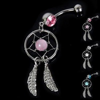 Hot sell Catcher body art Navel Barbell Belly button bar ring Crystal Gem shiny Silver White/Pink/Blue art B24 18721