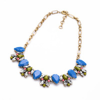New Vintage Brand Gold Statement Multicolor Crystal Flowers Pendant Necklace for Women