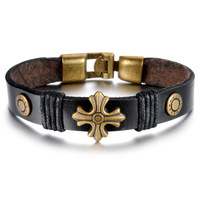 Vintage Genuine Leather Bracelet Charm Style Cross Design wristband Trendy Unisex Men Bracelet Pulseira Masculina Couro