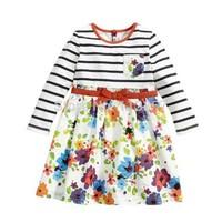 2014 Autumn winter flowers long sleeve striped teenage girls dress 3~12age kids apparel 1pcs retail