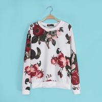 2014 New Autumn Girls Vintage Floral Prints Long Sleeves Sweatshirts Ladies Leisure O-Neck Cotton Blend Tops 2001304202