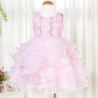 Little Girls Host Elegant Wedding Dress Children's Princess multi-Rose Gauze Cake Dress White Hot pink party dress for kids