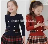 Children clothing new 2014 autumn winter girls plaid long-sleeve princess dress kids girl's tutu dress free shipping