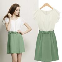 Europe  women's wear the new summer 2014 bows round collar zipper chiffon waist short shirt dress free shipping