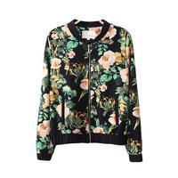 2014 New Women Vintage Floral Prints Long Sleeves Bomber Jacket Ladies Casual Standing Collar Short Coat 3001304202