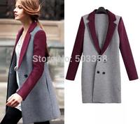 Hot Selling 2014 Autumn Free Shipping European Fashion Women Coat Patchwork Slim New Brand Woolen Overcoat Autumn Coat