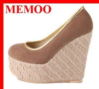 MEMOO 2014 Rome Style Straw Wedges Platform Shoes Pumps Sexy High Heels Round Toe Women Dress Casual Shoes Pumps XB997