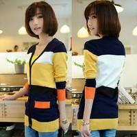 Winter 2014 new women's Korean loose sleeve stripes sweater cardigan jackpot pocket a thin coat of female