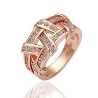 Hot Sell Elegant 18K Champagne Ring Gold Plated Wedding Ring Made with Genuine Austrian Crystals