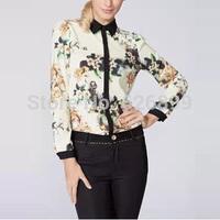 2014 European And American Women's Fashion Blouse Gaudy Floral Print Long Sleeve Lapel Shirt Comfy Blusa AH34
