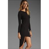 2014 European style ladies irregular hem dress Slim temperament comfortable soft free shipping