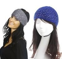 2014 New Solid rhinestone Women Headband Knit Crochet Headwrap Winter Ear Warmer for Girl Teens Women size 45cm*14cm 10 pcs/lot