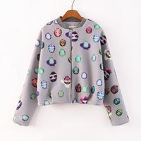 2014 New Women Colored Animal Prints Bat Sleeves Bomber Jacket Ladies Casual Long Sleeves Standing Collar Coat 3002304202